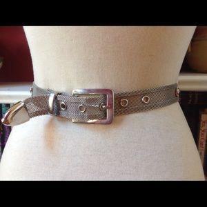 Vintage Silver Mesh Metal Stud Saddle Belt